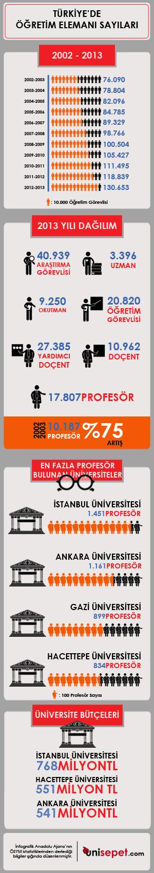 Türkiye'de Öğretim Elemanı Sayıları infografik