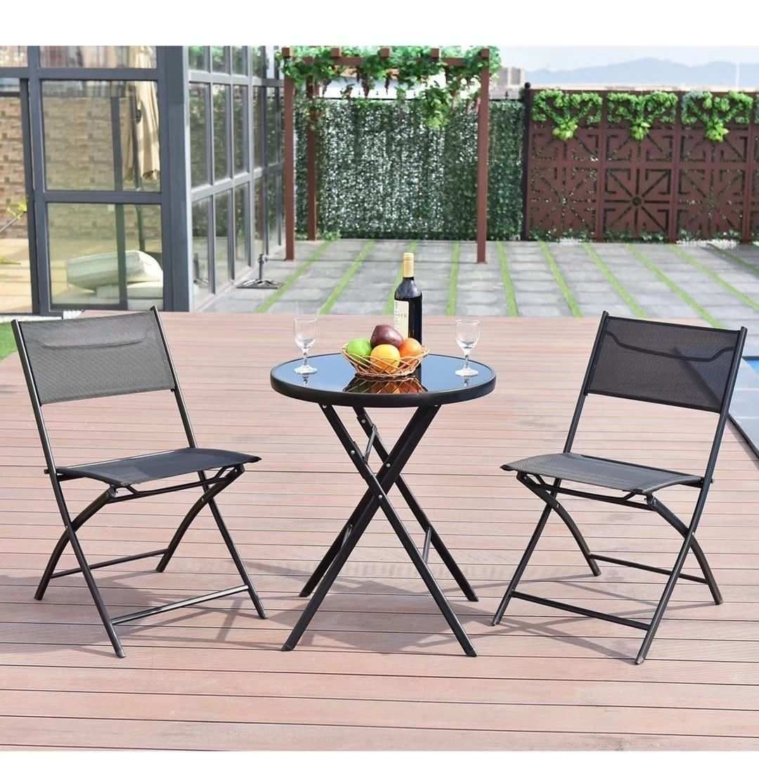 Patio 3pcs Folding Round Table Chair Set Garden Bistro Backyard Furniture