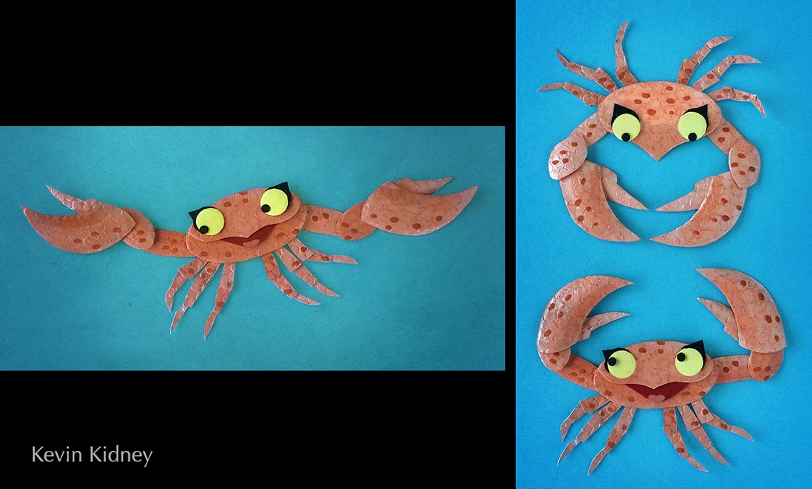 Stop-motion puppet crabs by Kevin Kidney. Embossed paper airbrushed with metallic pigment.   #HMH #CuriousWorld #BixPix #MoonlightStorytime #KevinKidney