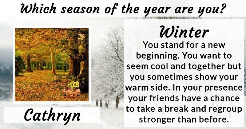 Which season of the year are you?