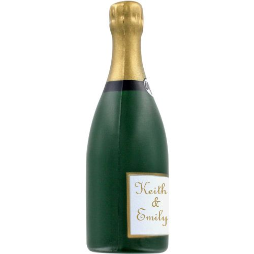 This might be a fun wedding party favor idea. Personalized champagne stress balls...err bottles!