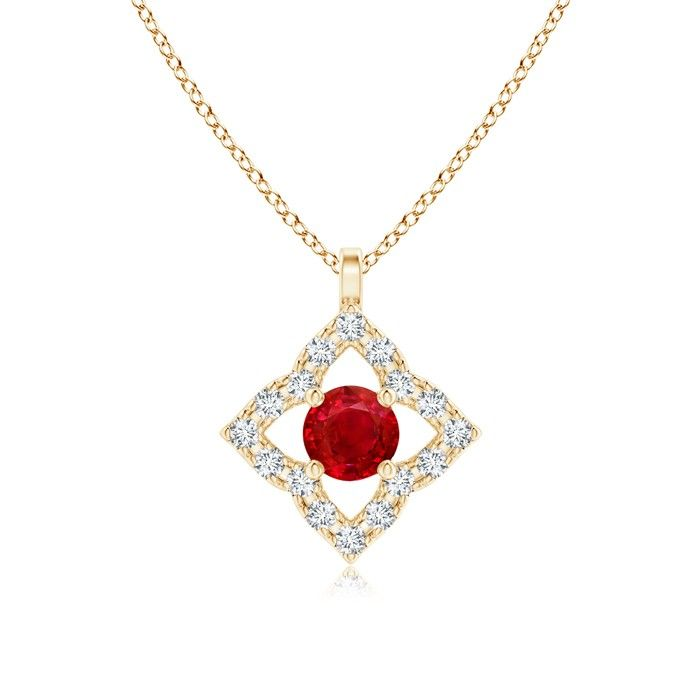 Angara Pear Shaped Ruby Pendant Necklace in 14k Rose Gold 9pXAxRy