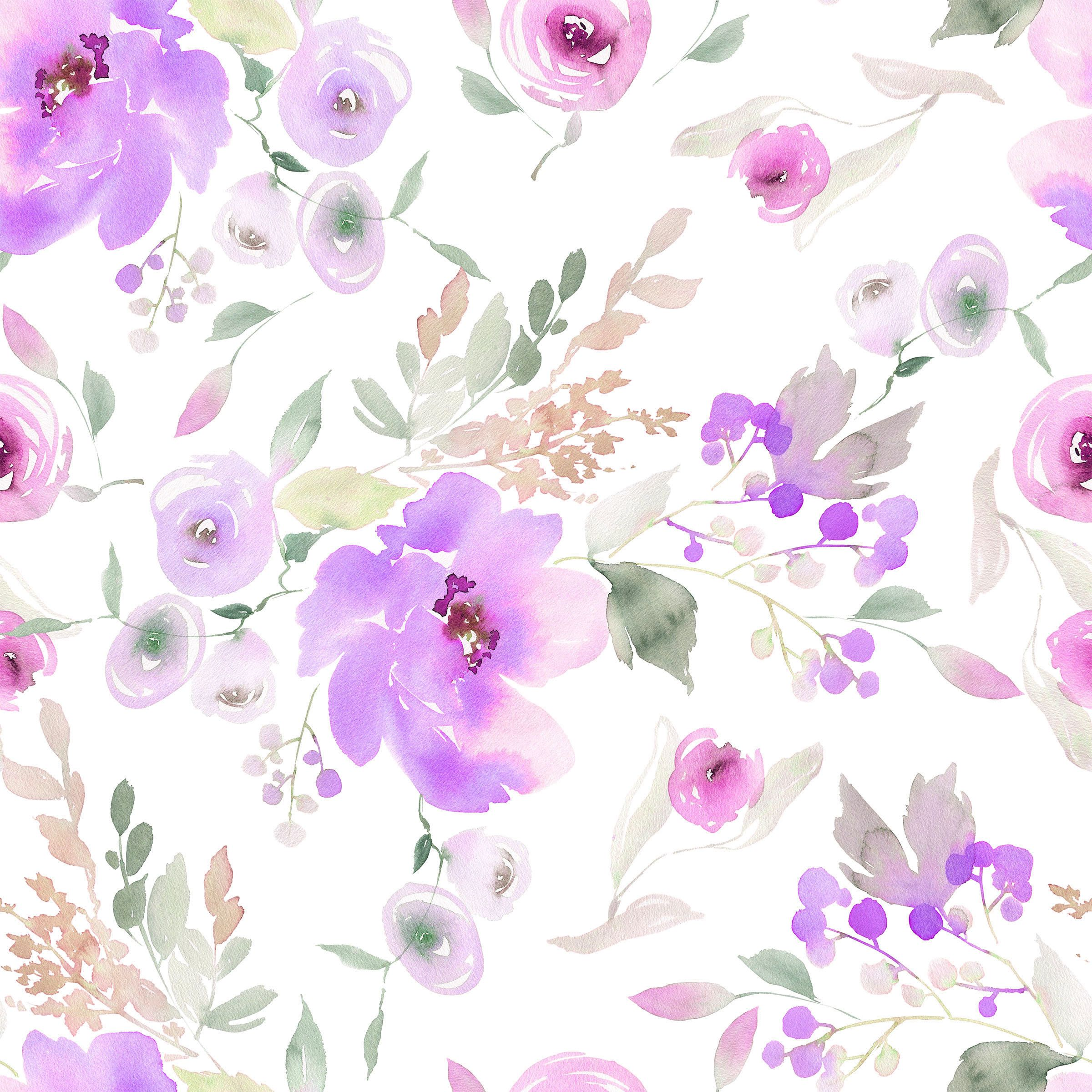 Lavender Floral Fabric By The Yard Quilt Cotton Knit Etsy Lavender Floral Fabric Watercolor Flowers Floral Fabric