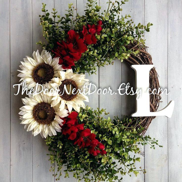 Spring Wreaths For Front Door Sunflower Wreath Red Wisteria Wreath