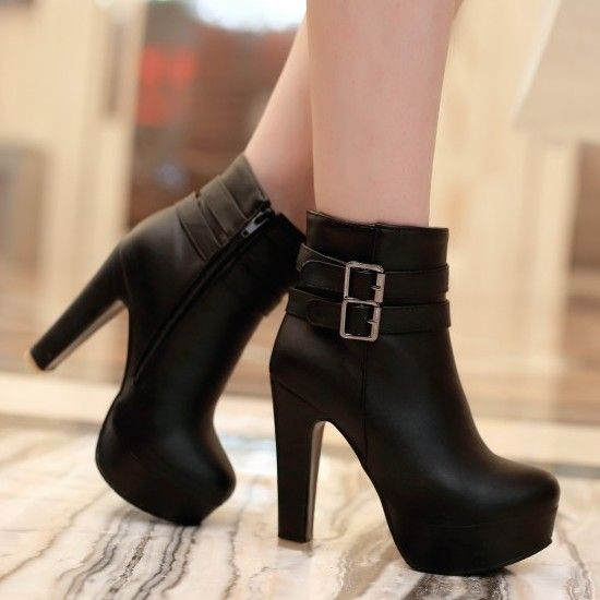 Women's Fashion Faux Patent-leather Buckle Strap Zipper Platform High Heel Ankle High Dress Boots