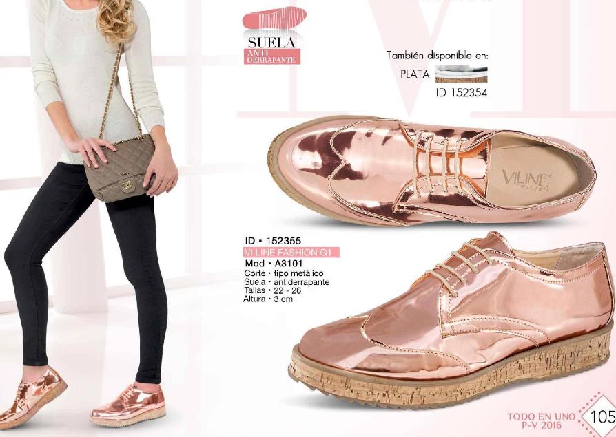 0ed0a412 Zapato casual de mujer tipo metalico de la marca Viline Fashion. Coleccion  todo en uno