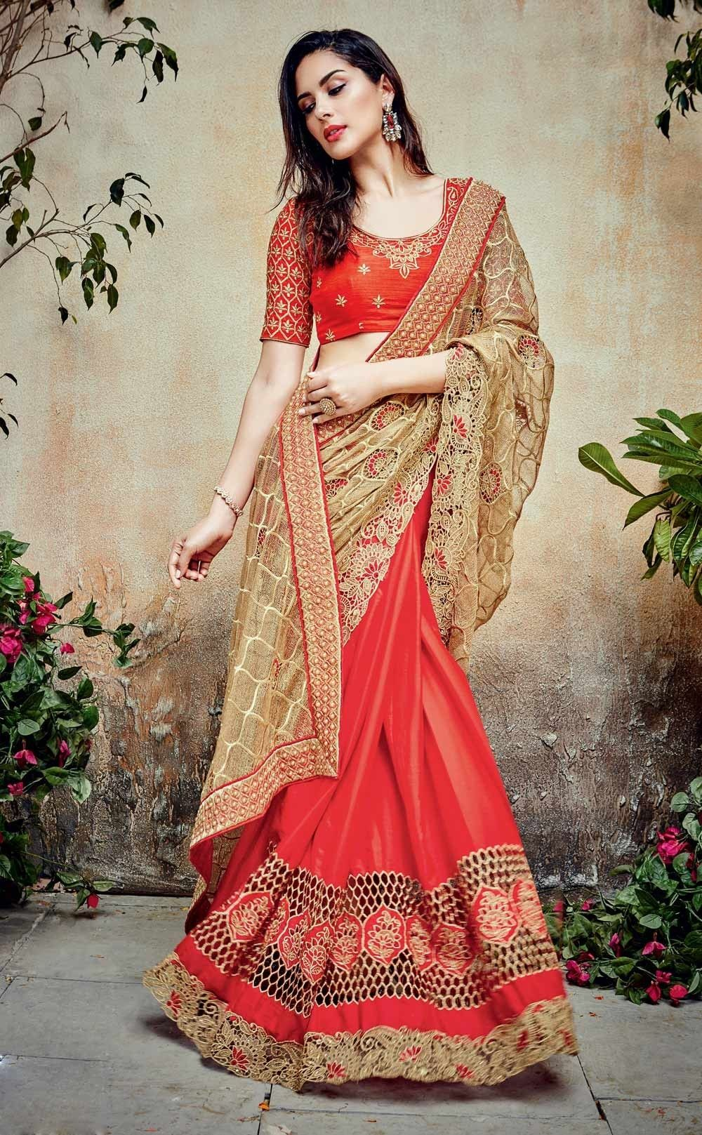 Lehenga saree for wedding bride beige u red half n half indian designer net satin sari with blouse