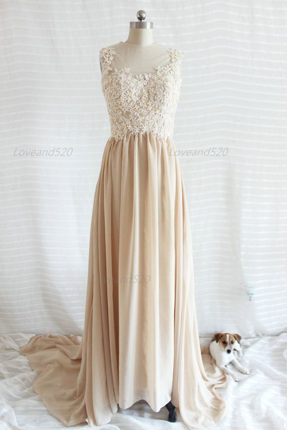 Champagne Lace Prom dress,backless lace bridesmaid dress,long lace ...