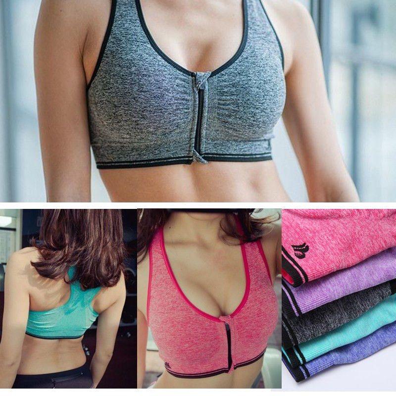 Women Padded Sports Bra Yoga Front Zip Fitness Workout Gym Stretch Wirefree Bra