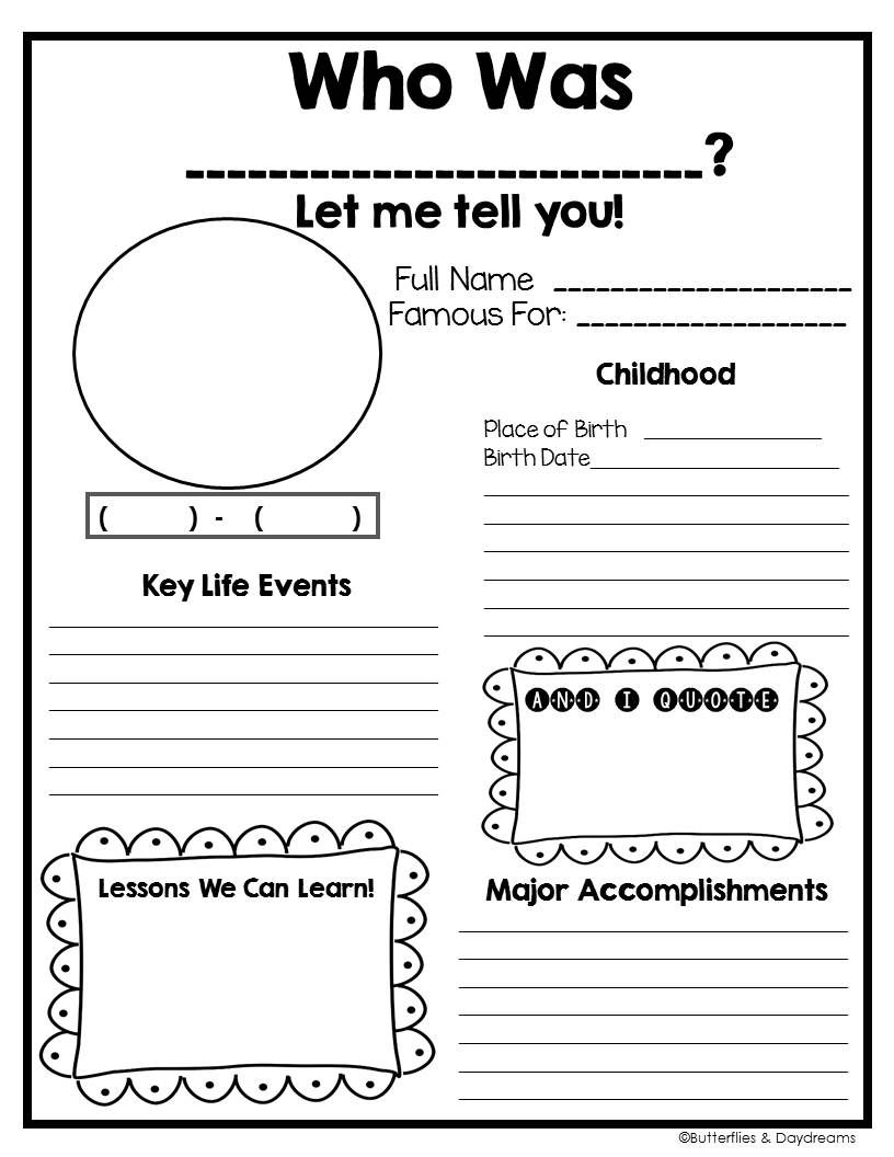 Biography Project {Grades 25} Social studies worksheets