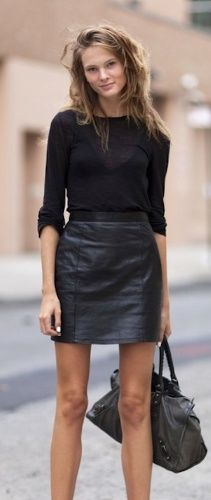 How can I wear a leather skirt for work? | Skirts for summer ...