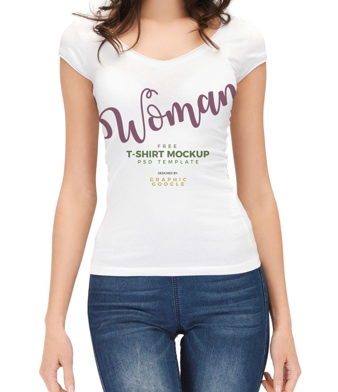 Download Free Woman T Shirt Mockup Psd Free Mockup Clothing Mockup T Shirts For Women T Shirt Design Template