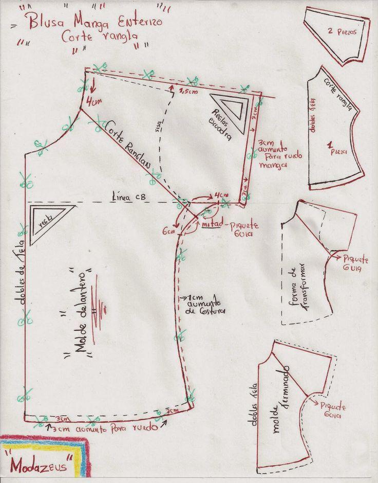 patron de blusa corte ranglan | moldes | Pinterest | Sewing, Blouse ...