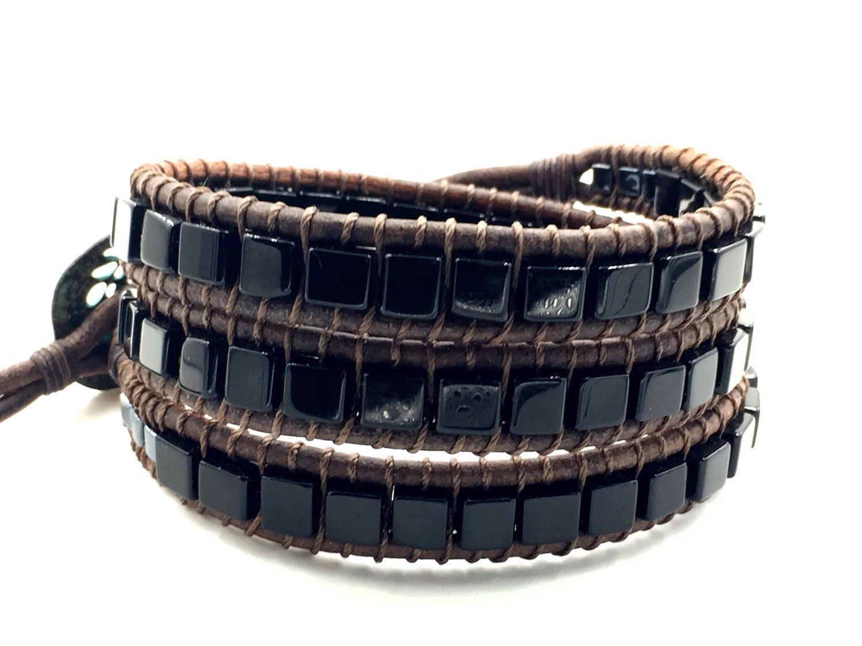 Black Obsidian Wrap, mens leather bracelet, rocker bracelet, rocker chic,  beaded wrap