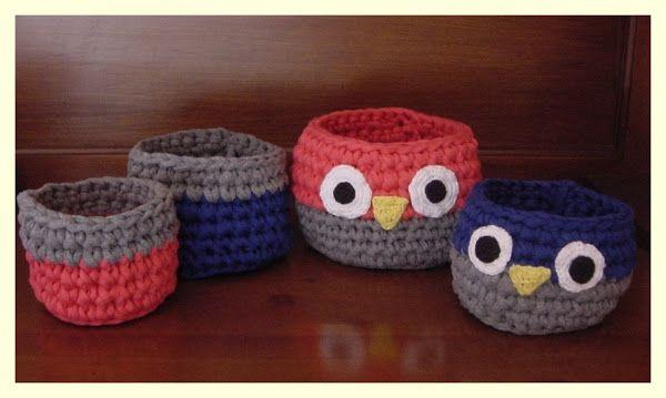 Cestos de ganchillo en forma de búho | Crochet bags, purses and ...