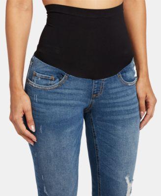 7fd529478f3e8 Motherhood Maternity Bounceback Post Pregnancy Distressed Cropped Jeans -  Blue S