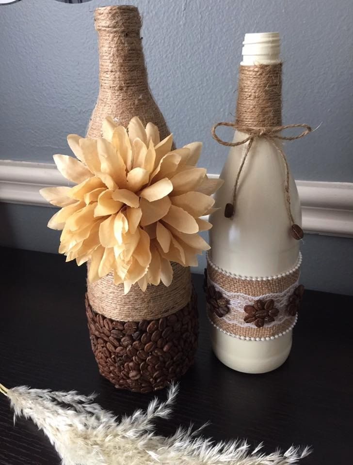 Wine Bottle Decor Coffee Bean Craft Glass Bottle Art Coffee Beans Home Coffee Bean Art Coffee Diy Decor Glass Bottles Art