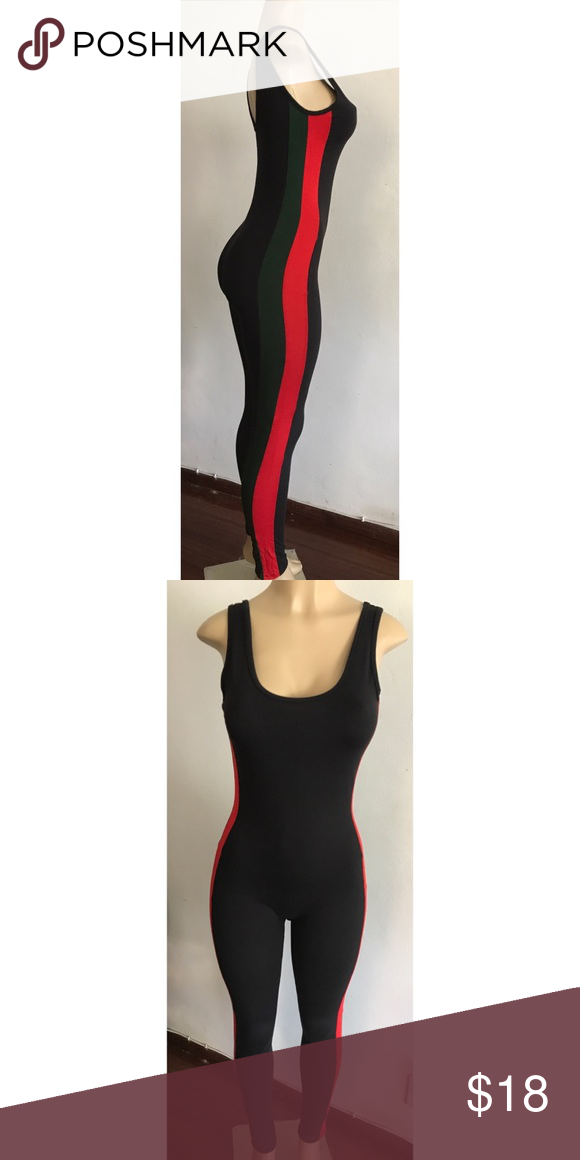 aa9774bfe67e Gucci style Bodysuit Gucci style black firm stretch long bodysuit w  green  and red side stripes Pants Jumpsuits   Rompers