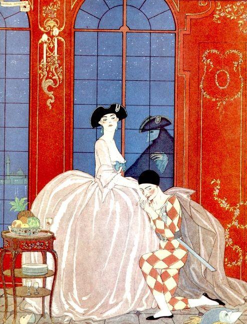"""George Barbier """"La Vénitienne""""  """"L'Illustration"""" Numéro de Noël 1921    Avec Erté  (clic) , avecqui il collabora pour des costumes et dé..."""