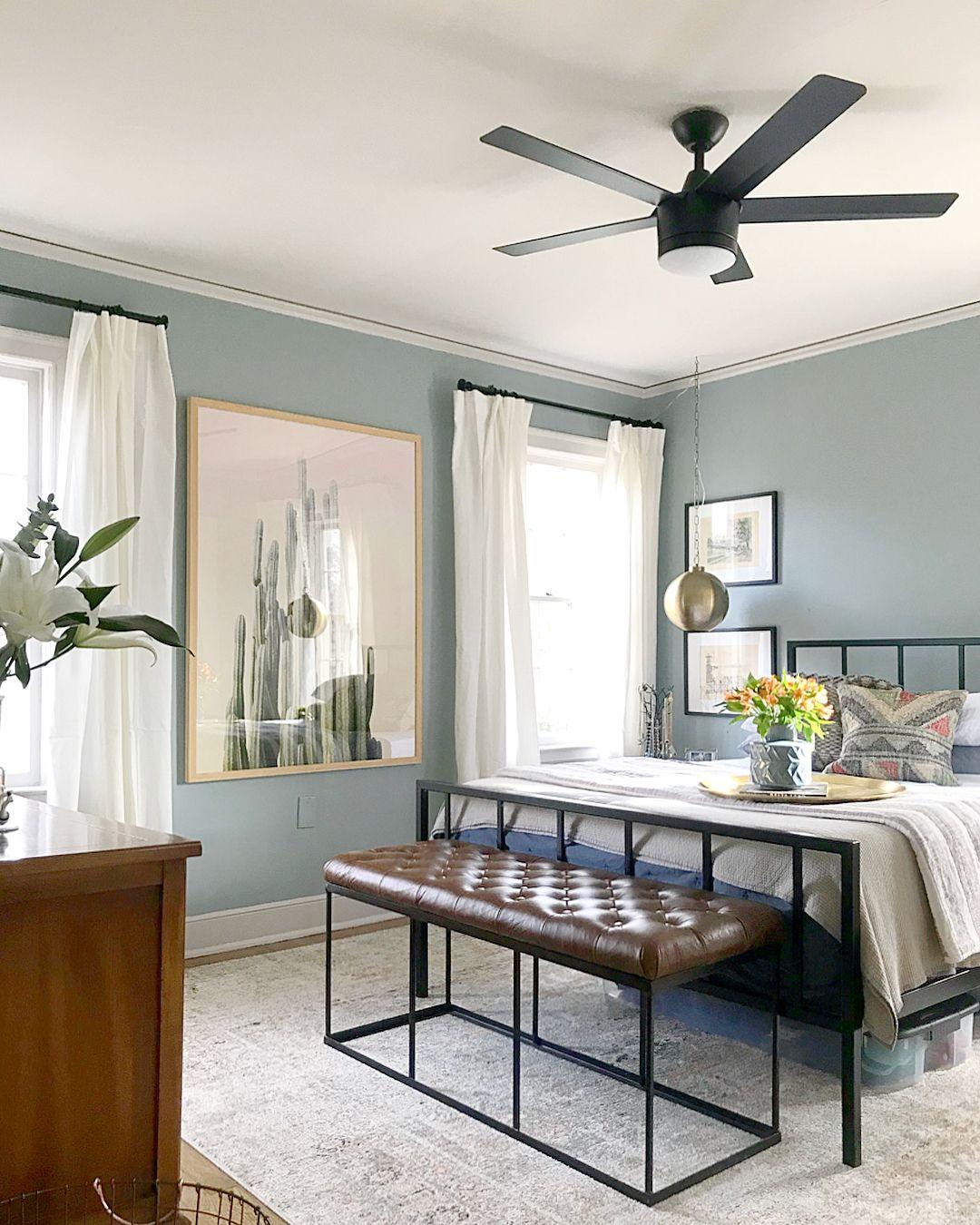 Dark paint ideas for bedroom  Wall color is Benjamin Moore Kentucky Haze  Paint  Pinterest
