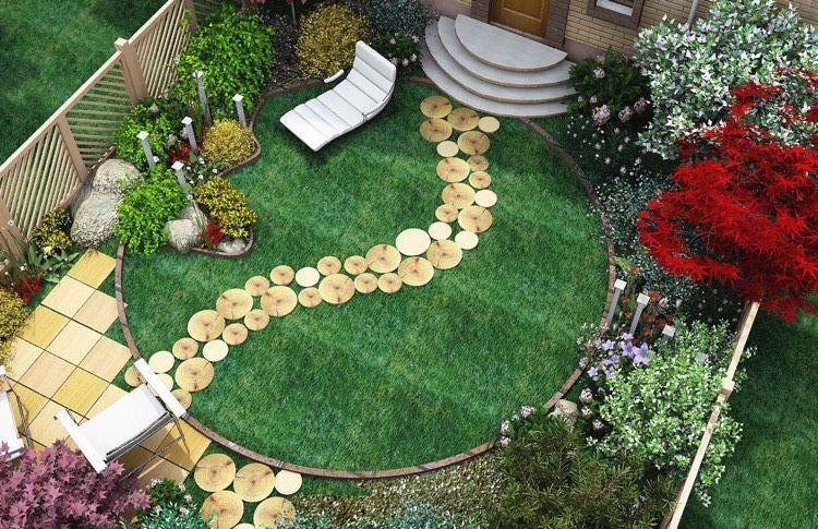 Kleiner Garten mit runder Rasenfläche und Trittplatten aus