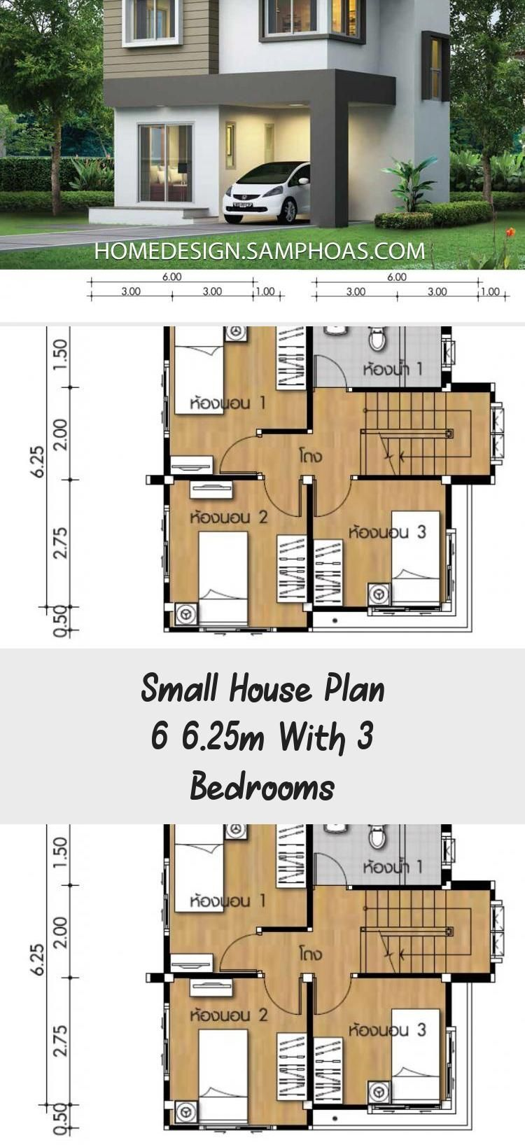 Small House Plan 6x6 25m With 3 Bedrooms Home Ideassearch Cottagehouseplans 1800sqfthouseplans Cabinhouse House Plans Brick House Plans Square House Plans