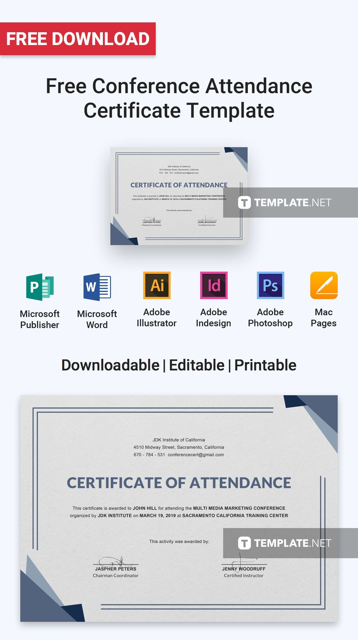 free conference attendance certificate free certificate templates pinterest attendance certificate certificate and template - Conference Certificate Template