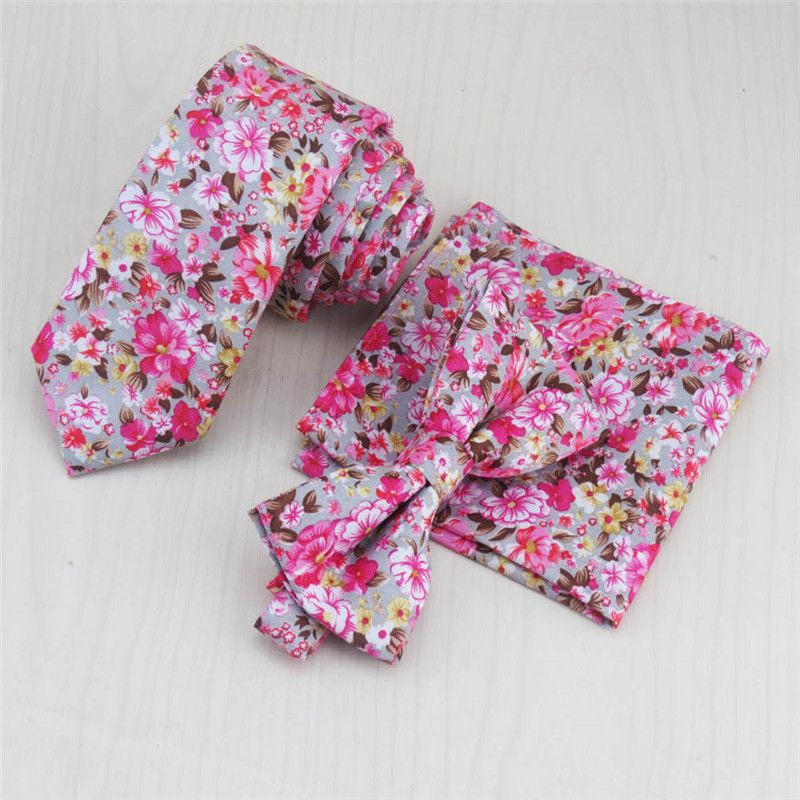 >> Click to Buy << Pink Floral Tie Set Men's Necktie Bowtie And Handkerchief Set Pocket Square Narrow Ties For Suit Shirt Dress Accessories Gravata #Affiliate