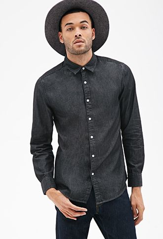 Classic Chambray Button-Down Shirt | Forever 21 Canada $18.80