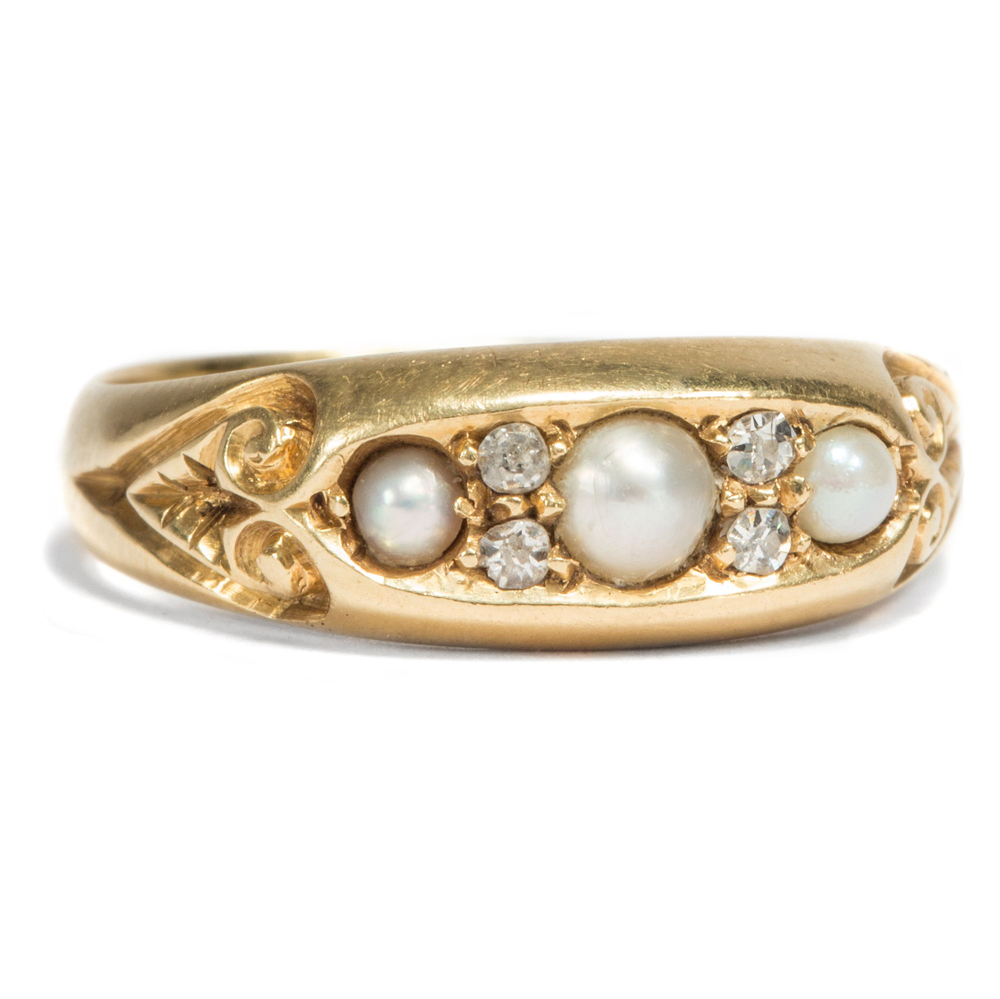 eternal love feiner goldring mit diamanten naturperlen chester 1901 von hofer antikschmuck. Black Bedroom Furniture Sets. Home Design Ideas