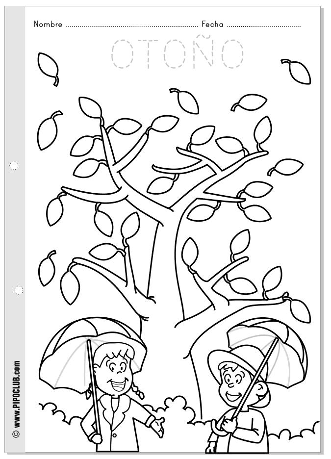 Ficha para colorear del otoño, las estaciones - desde Pipo #otoño ...