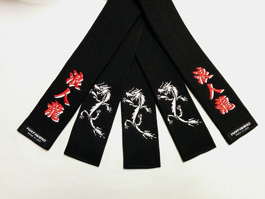 Embroidered black belt brushed cotton black belt