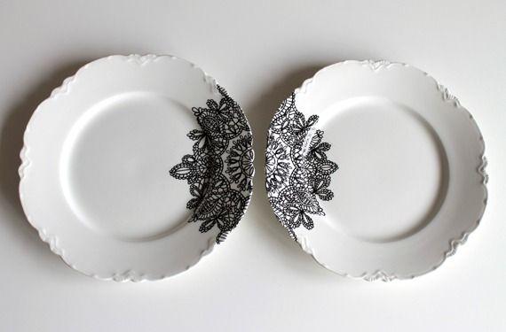 Hand drawn lace design plates