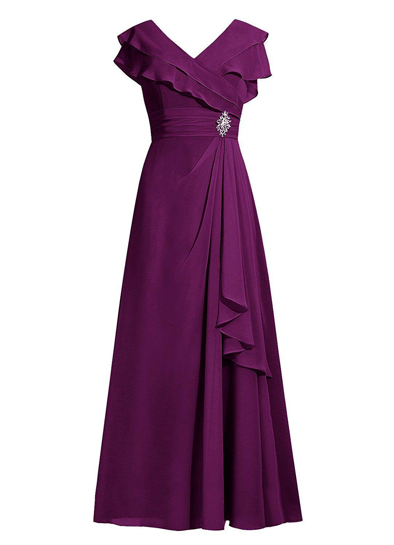 Dresstells Long Bridesmaid Dress Chiffon Mother of Bride Dress ...