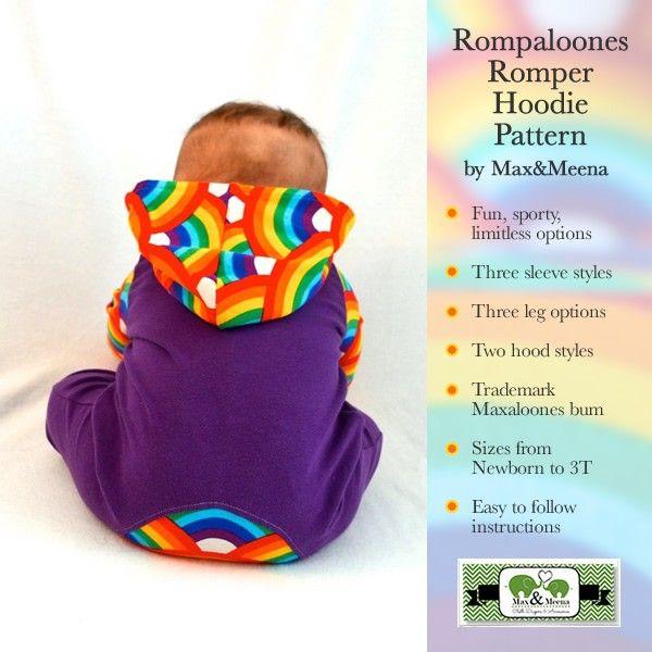 Rompaloones Romper Hoodie Pattern by Max&Meena | Sewing | Pinterest ...