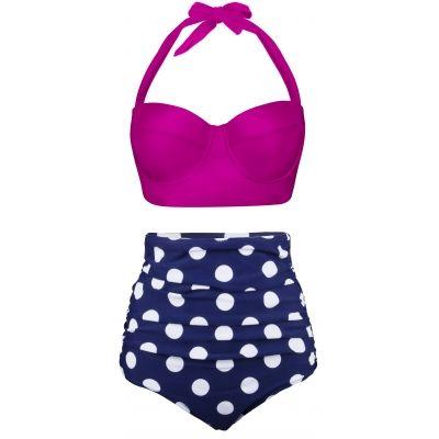 Angerella Traje de Baño Bikini Vintage Ruched Cintura Alta ZNLqh