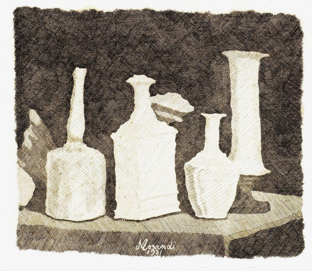 Morandi Giorgio Still Life with White Objects on a Dark Background, 1931 (via Atlante dell'arte italiana)