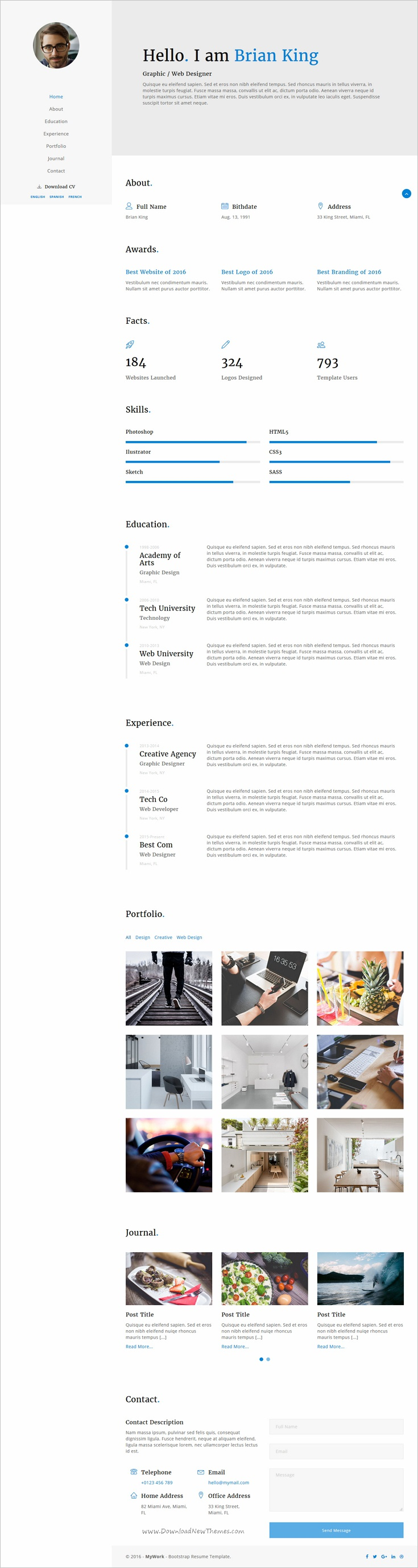 MyWork is beautifully design #bootstrap template for #webdev CV ...