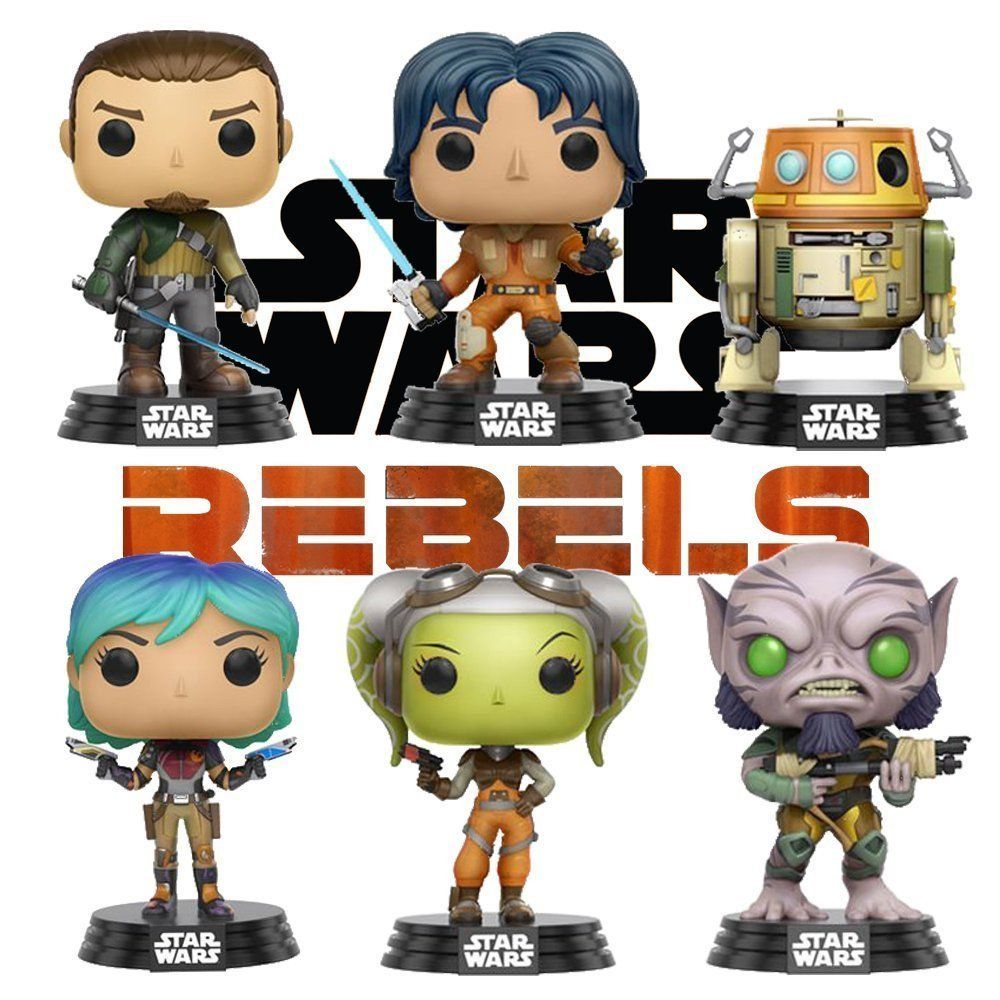 SET OF 6 Funko POP Zeb, Hera, Sabine+ Star Wars Rebels S1 Vinyl Bobble-Heads
