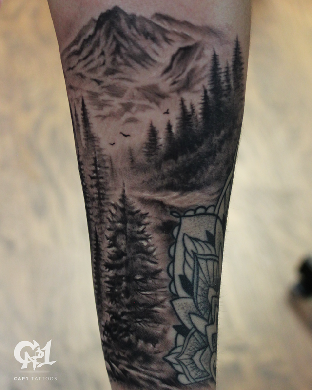 Black And Gray Forest Tattoo Half Sleeve Tattoo Www Cap1tattoos Com Tattoos For Women Half Sleeve Sleeve Tattoos For Women Tattoos