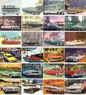 Postcards Set 24pcs * Classic Cars America Sixties Vintage Ads Illustration Adve…
