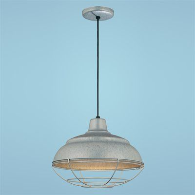 Millennium LIghting, RWHC1 Cord Hung Warehouse Shade RLM Pendant, $76, free shipping, $25 more for wire guard; 17 inch diameter, 200w A bulb
