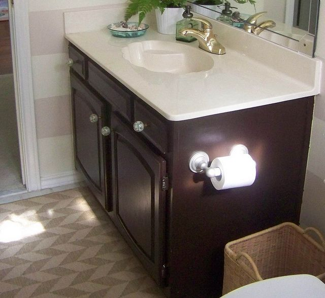 Painting builder grade bathroom cabinets behr paint and for Dark paint colors for bathroom vanity
