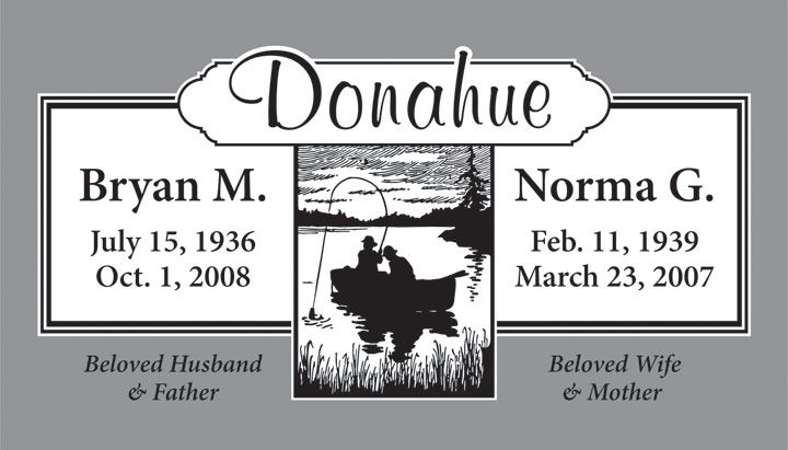 A Beautiful Headstone Design With Fishing Scene For A Married Couple Headstones Grave Headstones Grave Marker