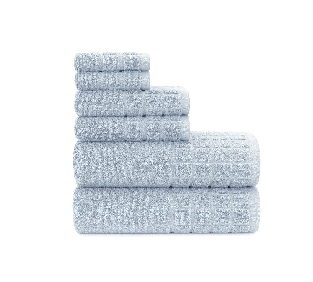 Dobby Check Double 6 Piece Towels Set In Cashmere Blue Elegant