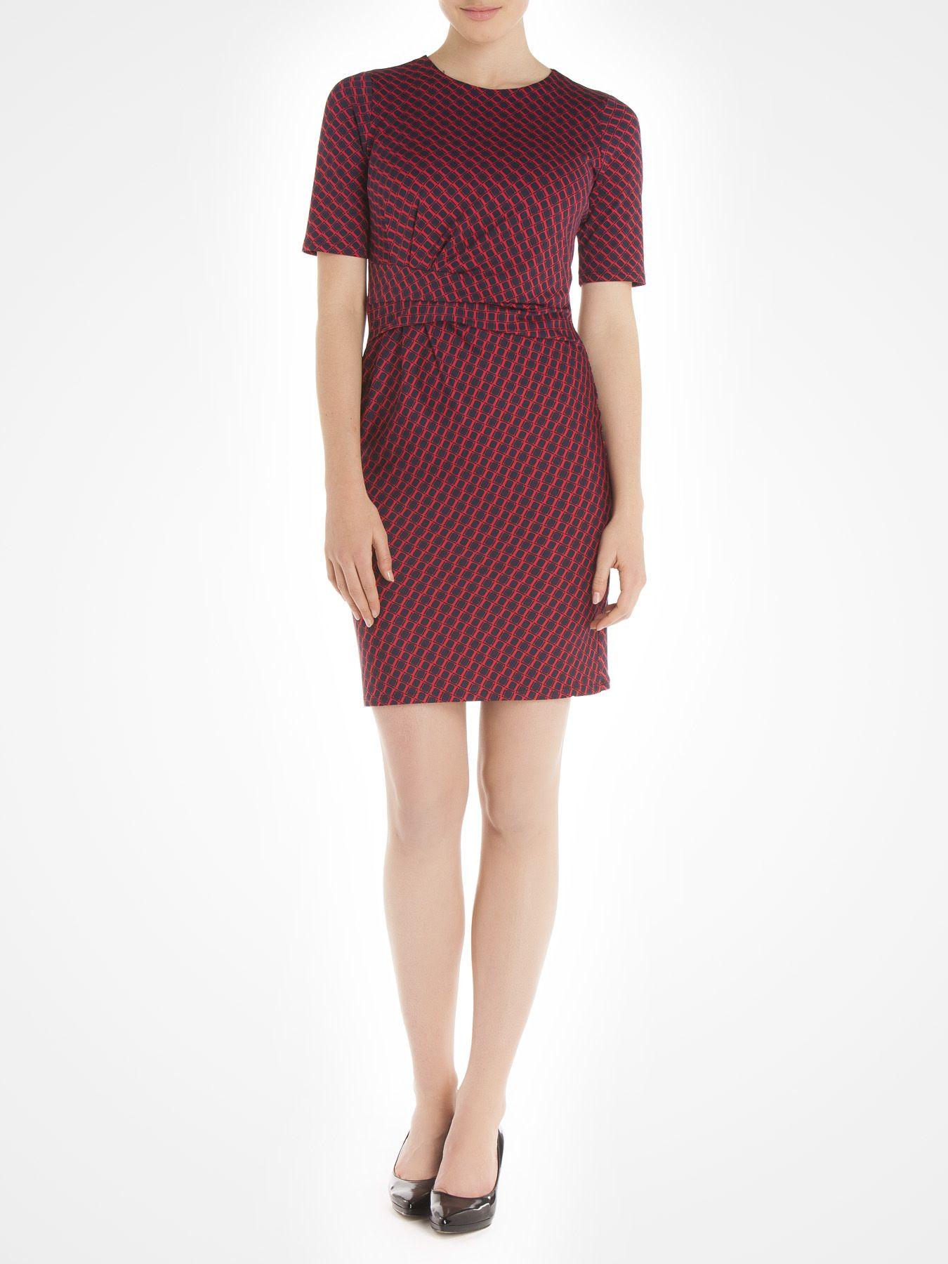 Robe imprimée avec plis à la taille 100 % fabriquée au Canada - Printed dress with pleats at the waist 100% made in Canada