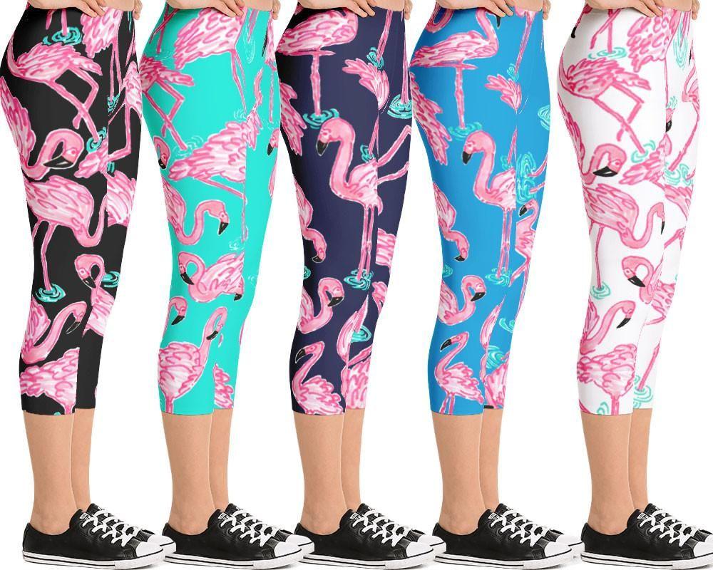 7adce560323a3 Capri Length Athletic Leggings for Women Flamingo Print Leggings ...