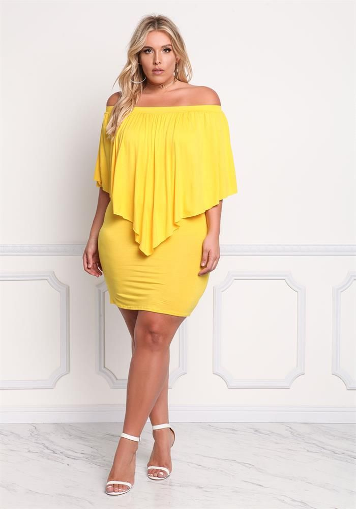Plus Size Clothing   Plus Size Off Shoulder Layered Pointed Dress   Debshops