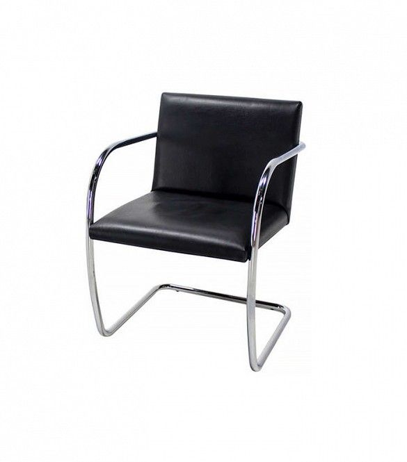 1stdibs Pair of Mid-Century Modern Leather and Chrome Brno Chairs