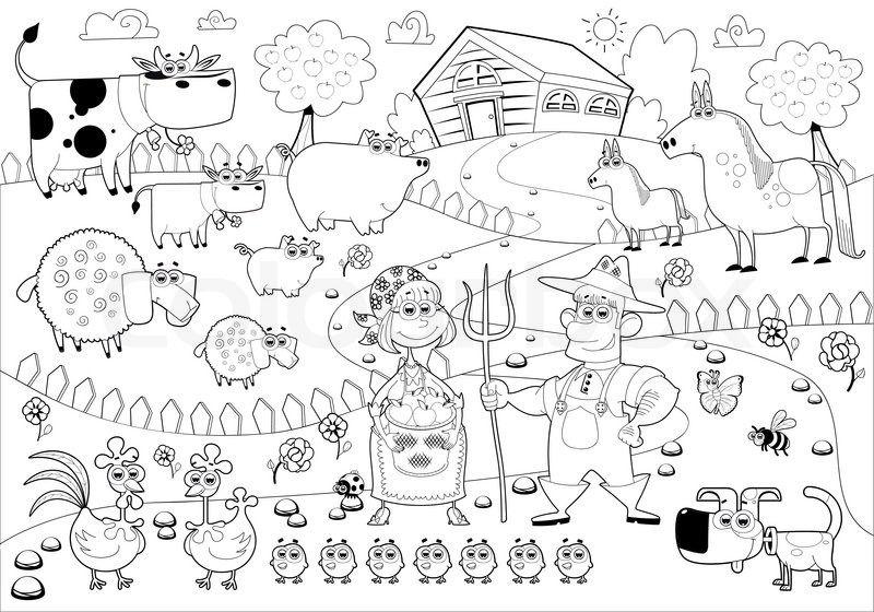 Funny farm family in black and white. Cartoon vector